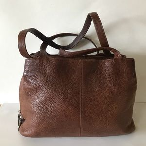 3b4ef08b5225 Tano Brown Leather Double Strap Shoulder Bag